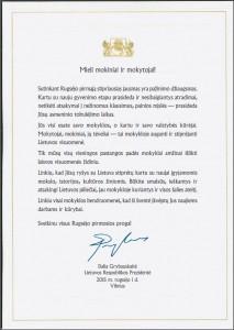 prezidentes sveikinimas