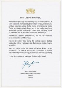 LR Prezidentės sveikinimas