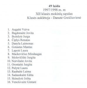 49 laida 1997 - 1998 mokiniu sarasas