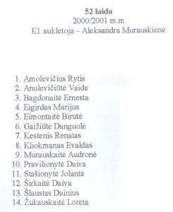 52 laida 2000 - 2001 mokiniu sarasas