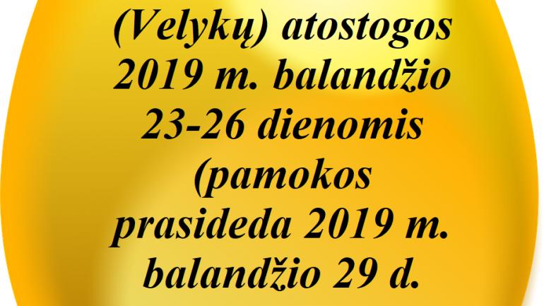 pavasario atostogos 2019
